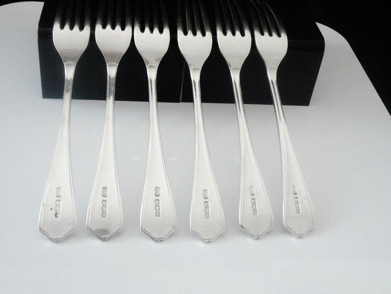 Silver Dessert Forks, Sterling, Anglais, Vintage, Tableware, Set 6, Cutlery, Hallmarked Sheffield 1926, Alexander Scott, REF:154P