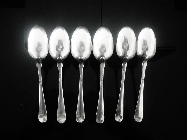 Sterling Silver Teaspoons, Feather Edge, Set 6, English, Cutlery, Tableware, Antique, Thomas Shepherd, Hallmarked London c.1770, REF:31H