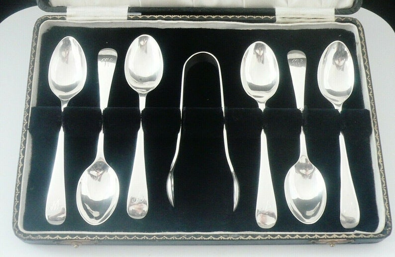 Sterling Silver Teaspoons, Sugar Tongs, Set 6, Cased, vintage, English, Cutlery, Nips, Hallmarked Sheffield 1930, Emile Viner, REF:494Y