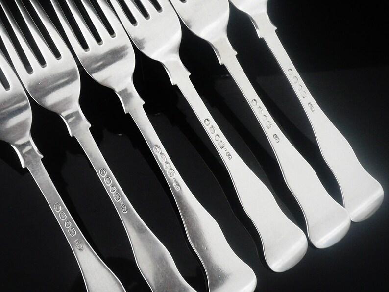 6 fourchettes à dîner argent, Sterling, Table, aigrettes, couverts, vaisselle, anglais, Antique, George Adams, poinçonnée Londres 1850, Réf: 419S