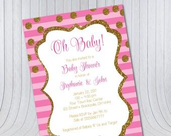 Baby Shower Invitation – Gold Pink Glitter {Digital FIle} Oh Baby | Girl Baby Shower