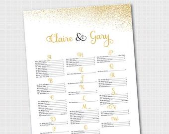 Elegant Wedding Seating Chart   Gold & Black   Gold Confetti Seating Chart {Digital File}      Printable Seating Plan Poster, Seating Board