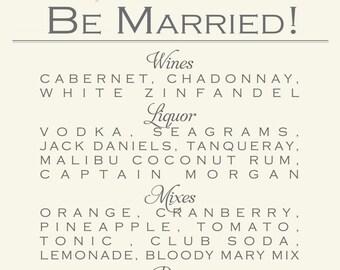 Wedding Reception Bar Menu {Digital File}