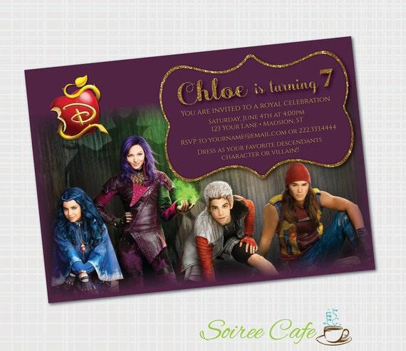Descendants Birthday Invitation Disney Printable