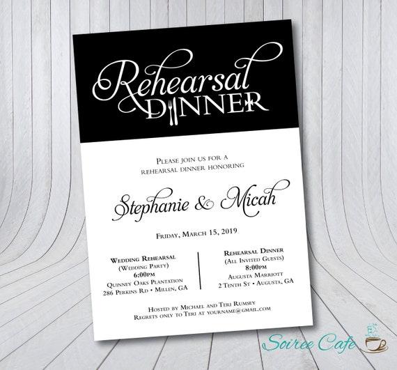 Rehearsal Dinner Invitation Vertical Rehearsal Invites Etsy