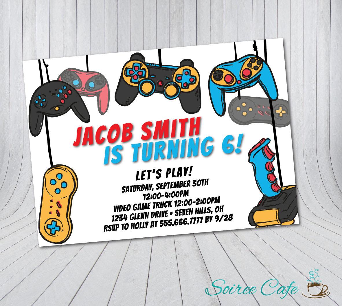 Video Game Birthday Invitation Video Game Truck Birthday | Etsy