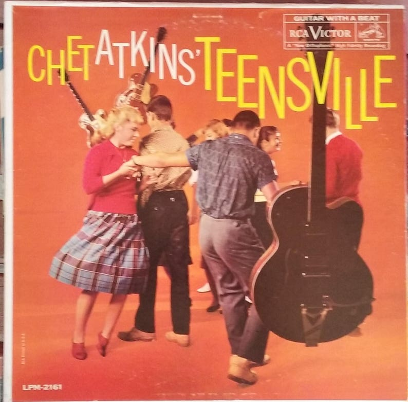 Chet Atkins' Teensville, Vintage Record Album, Vinyl LP, Classic Pop Rock,  1950's Dance Music, Love Ballads, 1960 Release