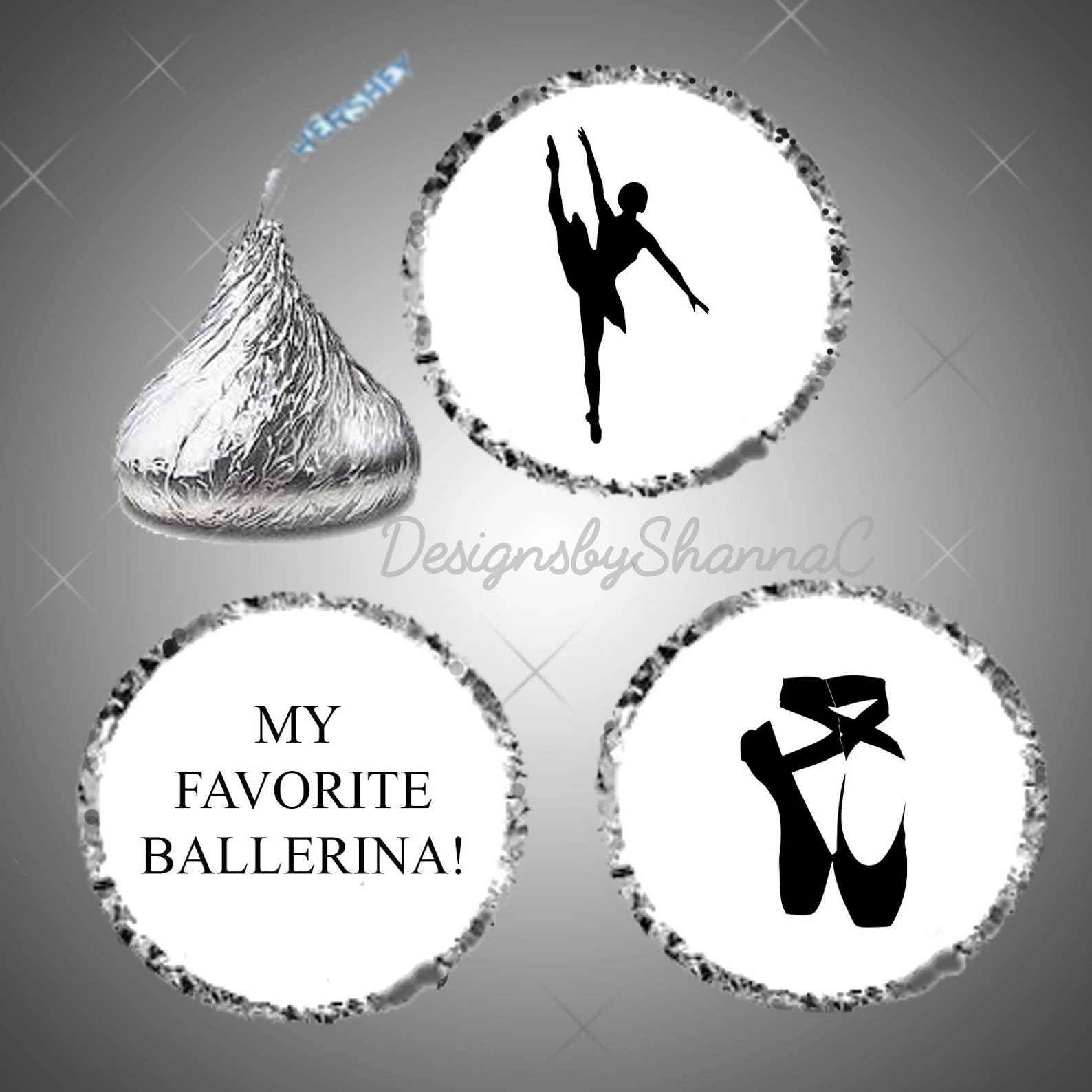 custom digital ballerina sticker labels fit hershey kiss, birthday party, celebration, ballet achievement gift, kids adults, fav