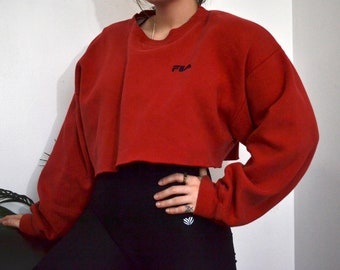 8aa989a65276 FILA - Vintage Cropped Fila Sweater - Pullover - Jumper