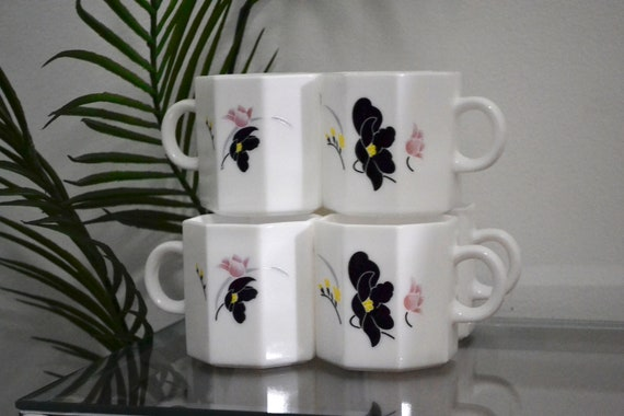 Floral Art Deco French Teacups Coffee Mugs Set Of Six Etsy