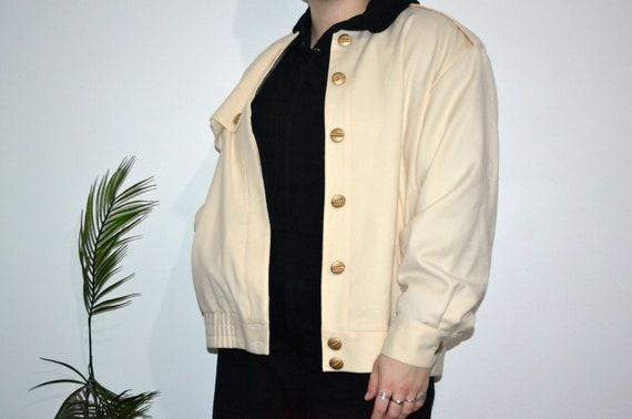 Vintage Cream Coloured Wool Bomber / Blazer Jacket