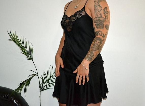 Vintage Black Silk Lingerie Slip Dress With Lace D
