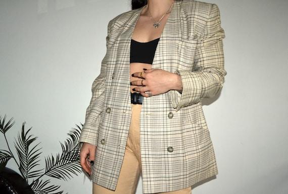 Vintage Wool Blazer - Oversized Blazer - Summer Bl
