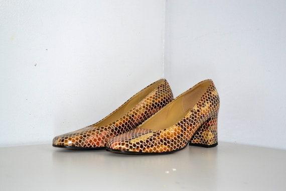 Vintage Snake Print Leather Heels - Leather Shoes