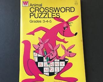 1974 Whitman Crossword Puzzle book. Animal Crossword Puzzles.
