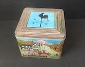 Barnyard Scene Vintage Tin. Folk Art. Americana. Barn. Silo. Farm. Dick Deranne.