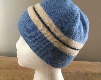 16a9d6054d322 Vintage Vermont Originals Wool SKi Hat. Beanie. Blue and White. Fleece  Lined.