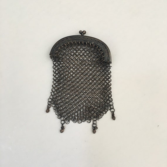 French Chainmail Purse. Antique Mesh Coin Purse Chatelaine