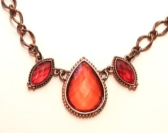 Dark peach crystal necklace - teardrop - marquise - copper chain - re-purposed 1928 jewelry - gift