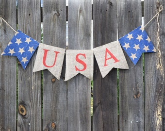 Patriotic Banner- 4th of July Banner-USA-Burlap Banner- Patriotic Decor- America Banner- Memorial Day- Labor Day- Stars and Stripes- Holiday