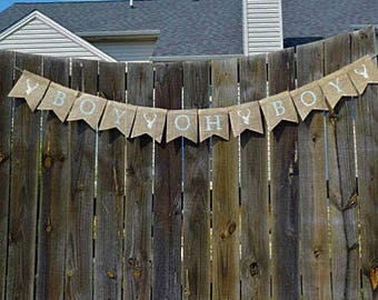 Boy Oh Boy Deer Banner- Baby Shower- Baby Shower Decor-Party Supplies-Shower Decorations- Baby Boy- Baby Shower Banner- Rustic Shower Decor