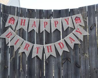 Happy Birthday Banner-Custom Burlap Banner- Farm Party Decor- Birthday Decor- Photo Prop- Burlap Banner- Birthday Bunting- Barn Banner