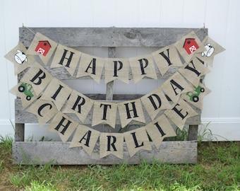 Tractor Birthday Banner- Farm Birthday- Tractor Party- Farm Party- Green Tractor- First Birthday- Personalized Banner- Birthday Party Decor
