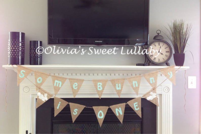 First Birthday Banner Some Bunny Is One Burlap Custom