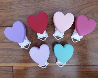 Silicone  Heart Clip-Single or Lot of 6