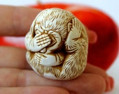 Monkey Miniature See no evil Hear no evil Speak no evil Three Wise Monkies Figurine Three Chimps Birthday Gift for coworker Father Teacher