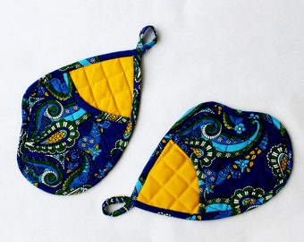 Pot Holders Oven Mitts Paisley Pocket Insulated Hot pad Blue Yellow Kitchen Accessories Cooking Mitten Hostess Birthday Gift Winter Holidays