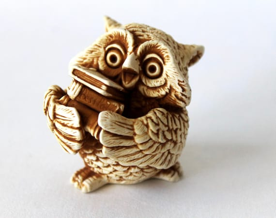 Miniature Owl Bird On Book Animal Figurine Ceramic Handmade Collectible Gift