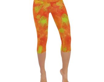 Orange Hearts Capri Leggings