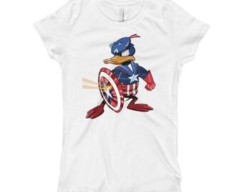 Donald Captain America Girl's T-Shirt