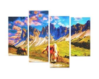 Dolomite Horses Painting 4 Piece
