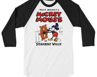 Steamboat Willie 3/4 sleeve raglan shirt