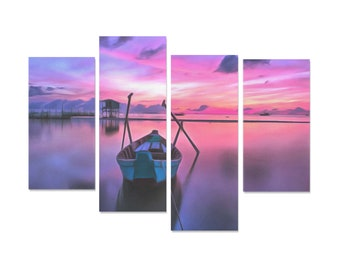 Fishing Boat Painting 4 Pieces