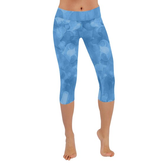 Light Cyan Blue Hearts Capri Leggings