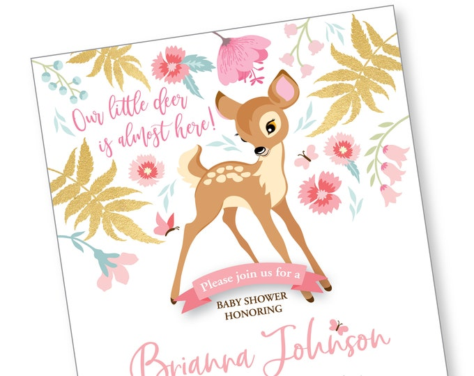 Baby Deer Shower Invitation, Printable, Customized, Digital files - woodland theme, gold, floral baby shower invitation, baby fawn invite