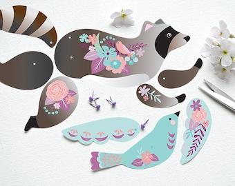 Instant DIY Download - Articulated Paper Raccoon with Bird