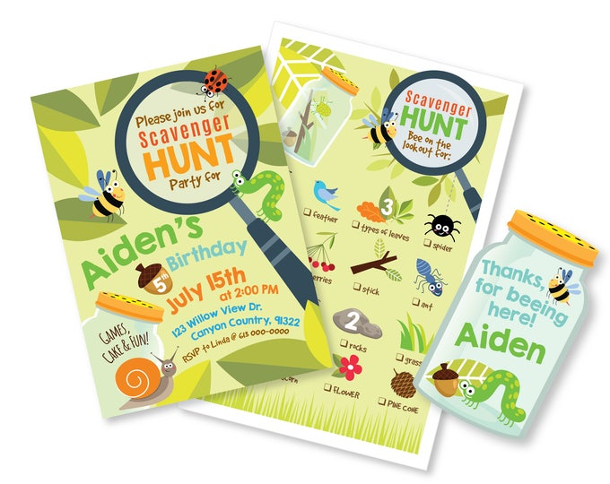 Scavenger Hunt Invitation, Scavenger Hunt Game and Favor Tag, Personalized Printable Digital files, Nature party package, nature hunt party