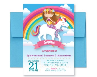 Rainbow, Mermaid Unicorn Invitation, Printable, Customized, DIY invitation, Girl's Unicorn / Mermaid Party, Mermaid Riding Unicorn