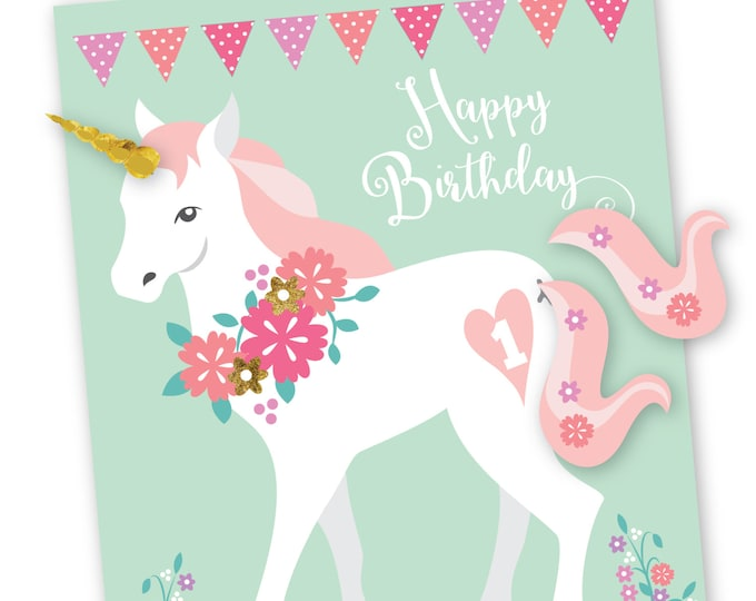 Pin the tail & horn on the Unicorn- party game / Digital files only / Mint, pink and gold glitter unicorn, girls birthday party