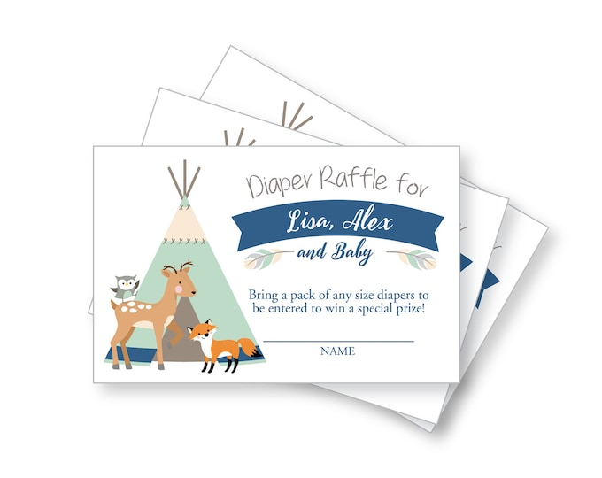 Tepee Woodland Baby Shower Diaper raffle, DIY, Customized - Gender Neutral / Woodland Animals / Tepee, feathers, arrows, tribal inspired