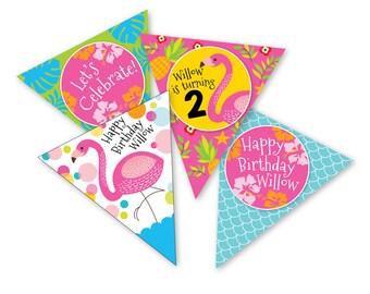 Flamingo Bunting, Garland, Banner, Printable Bunting, Pink Flamingo Pool Party