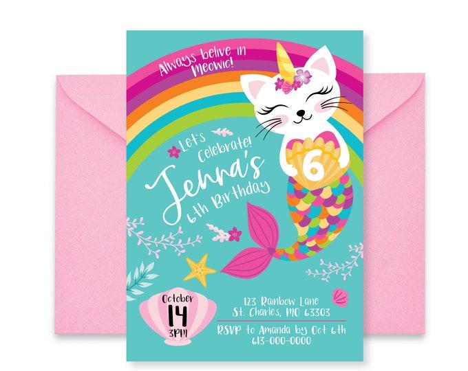 Caticorn, Rainbow Birthday Party Invitation, Cat, Mermaid, Unicorn, Rainbow Birthday, Girls Printable Digital Invitation, Cat, Unicorn Party