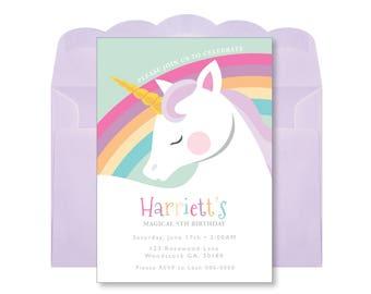 Unicorn Rainbow Birthday Invitation, Printable, Customized, DIY, Girls Birthday Invite - pastel rainbow