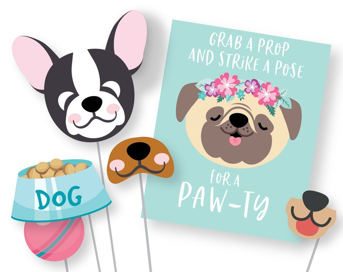 Dog Photo Booth Props - Dog - Puppy Birthday Props - Instant Download, printable files, Puppy Birthday Party