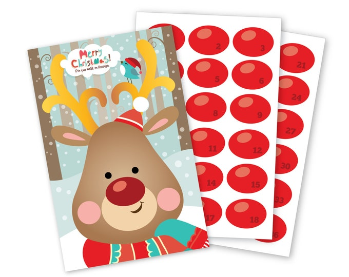 Pin the Nose on Rudolph/Reindeer- holiday party game - DIY party game for school parties - Digital files