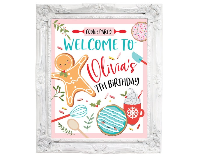 Cookie Welcome Sign, Customized Printable Digital DIY, Girl's Baking Party, Cookie Decorating Birthday Party, Party Welcome Sign